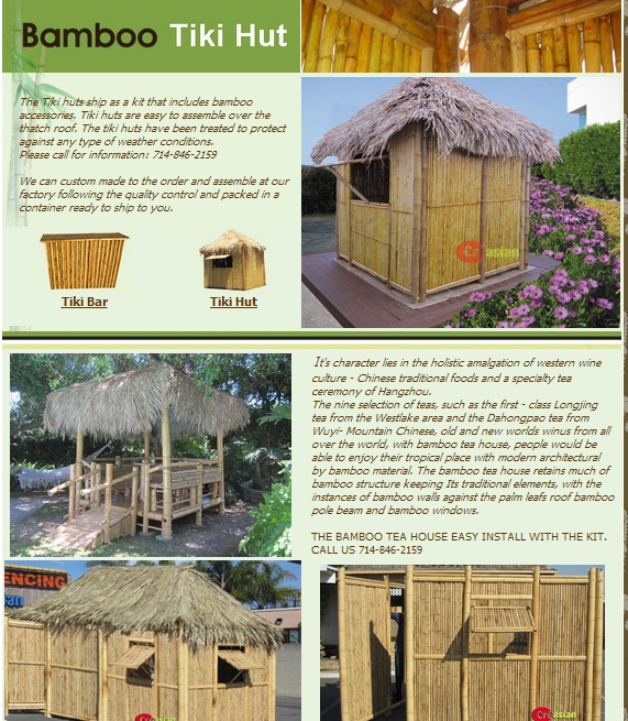 Quality Bamboo And Asian Thatch: 1+2-piece BAMBOO-PATIO
