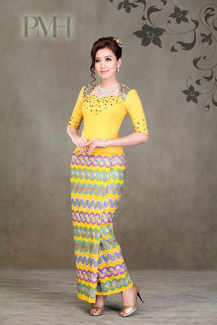 myanmar traditional dress - yu thandar tin