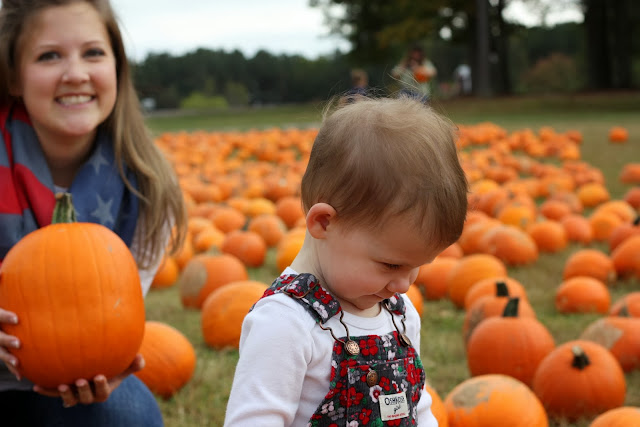 Maddie and Mommy with pumpkins