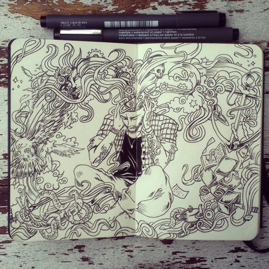 07-#22-My-Mind-is-the-Universe-365-Days-of-Doodles-Gabriel-Picolo-www-designstack-co