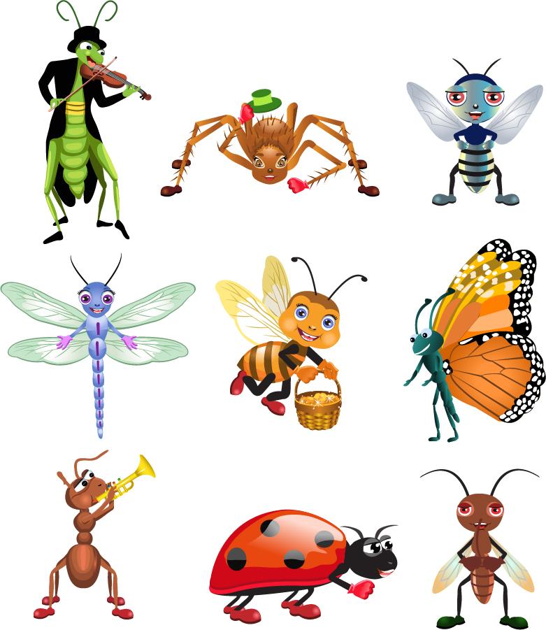 Free Vector がらくた素材庫: 春を呼ぶ昆虫のアイコン Cute cartoon insects ...