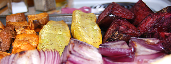 roasted yams, squash, beets, and onions