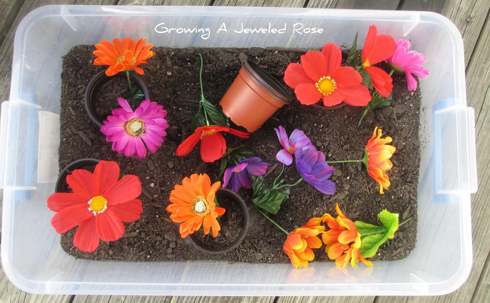 Planting Flowers Spring Sensory Bin