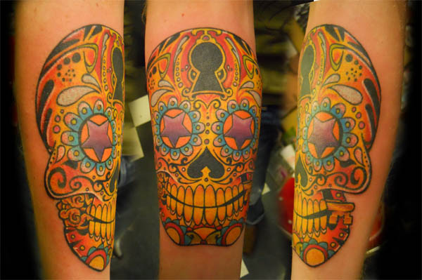 lock key sugar skull tattoo