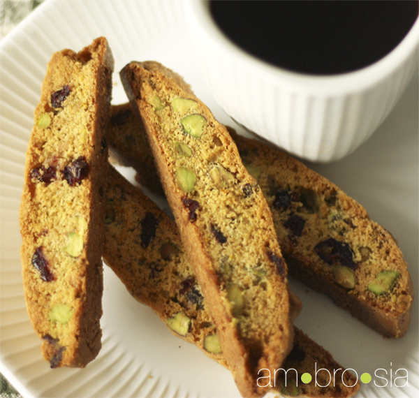 ambrosia: Cranberry, Orange, and Pistachio Biscotti