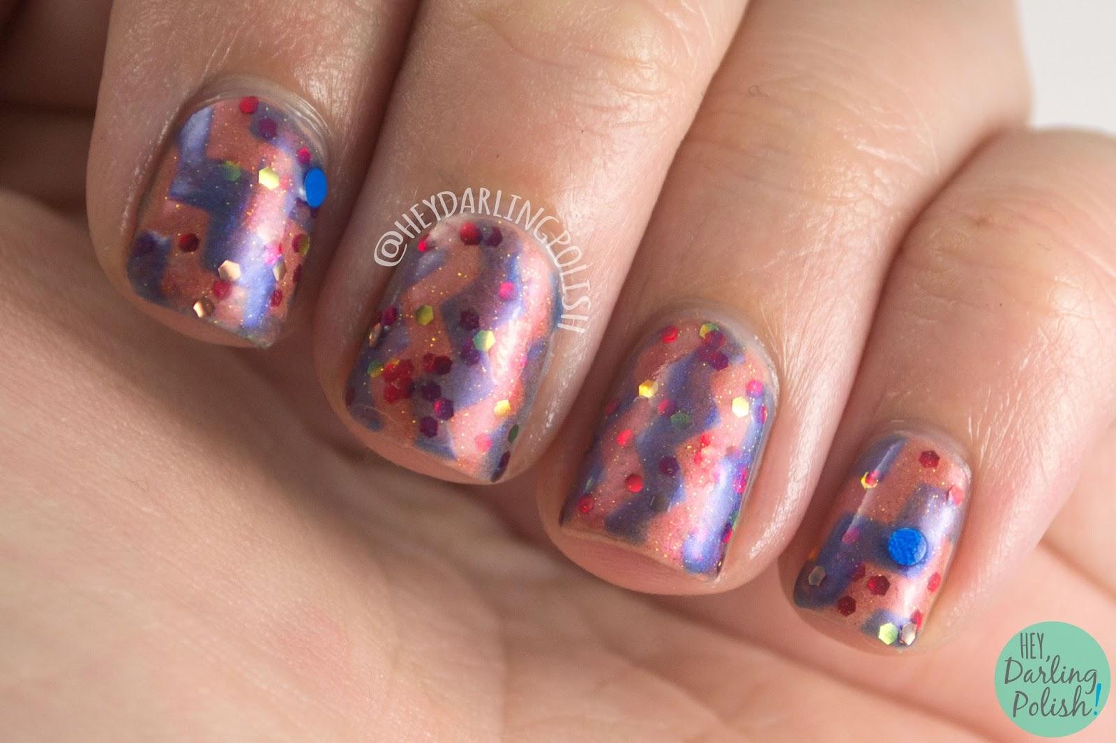 nails, nail art, fandom cosmetics, zig zags, hey darling polish, indie polish, indie nail polish, indie