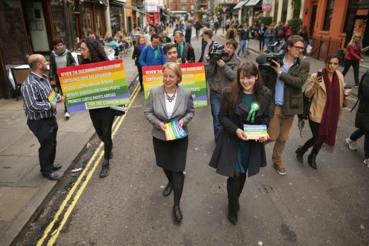 Green Party leader Natalie Bennett in Soho, the centre of London's homosexuals