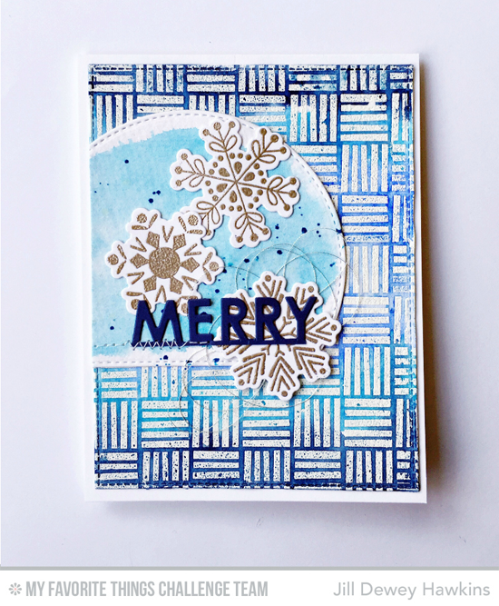 Merry Blue Snowflake Card by Jill Dewey Hawkins featuring the Snowflake Flurry stamp set and Die-namics, Crosshatch Background stamp, and the Pop-Up Holiday Greetings Die-namics #mftstamps
