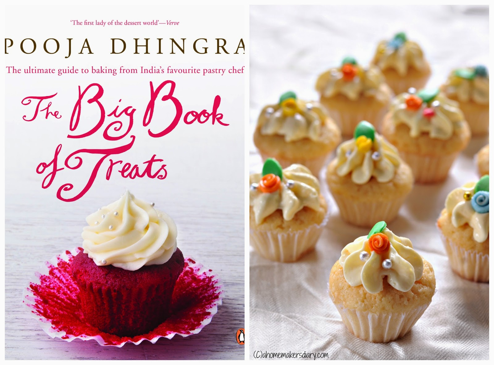'the big book of treats' the book launch by pooja dhingra and some mini vanilla cupcakes
