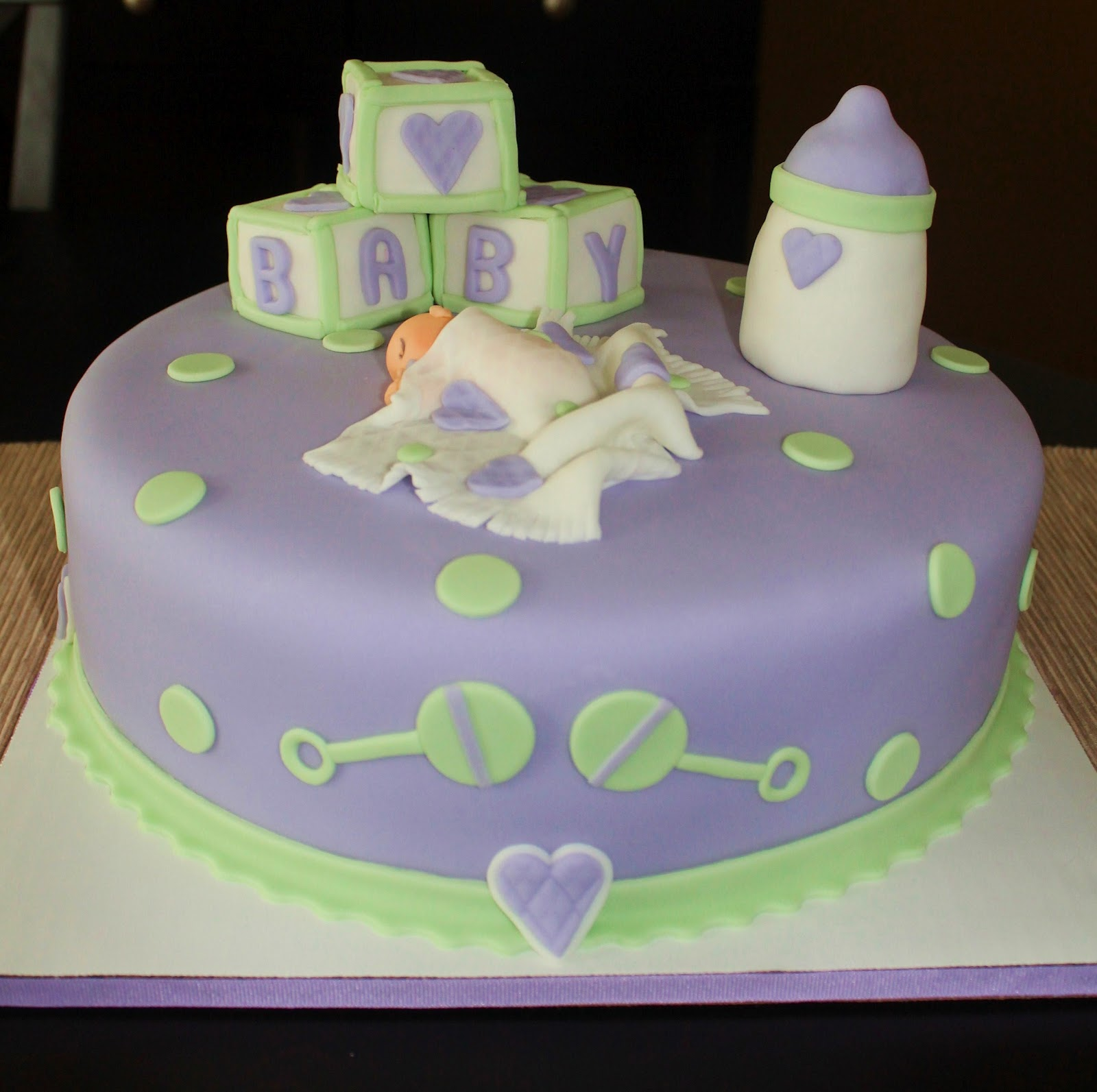 Creative Cakes by Lynn Purple & Green Baby Shower Cake