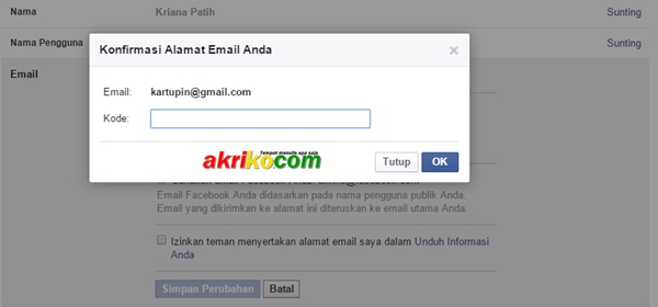 Cara Mengganti Email Pada Facebook
