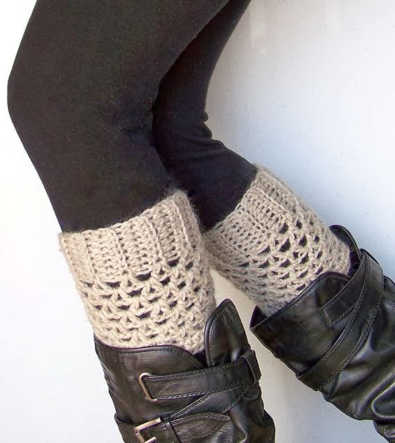 Amazing Beige Crochet Boot Socks with Black Leggings and Long Boots
