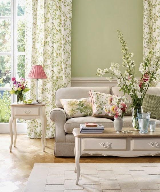 Mgc dise o de interiores decoraci n primaveral con laura for Cortinas estampadas salon