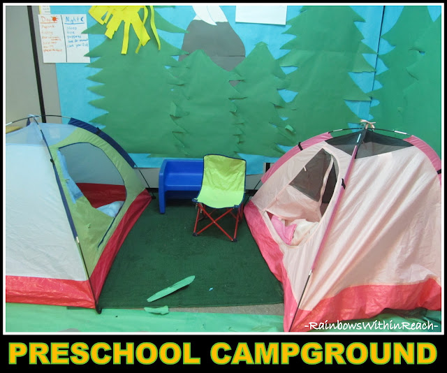 "photo of: Preschool ""Campground"" Indoors, complete with two tents and forest"