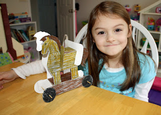 Tessa's completed Trojan Horse paper craft. She colored it and then helped put the wheels on. I did the cutting and most of the assembly to save on time and frustration.