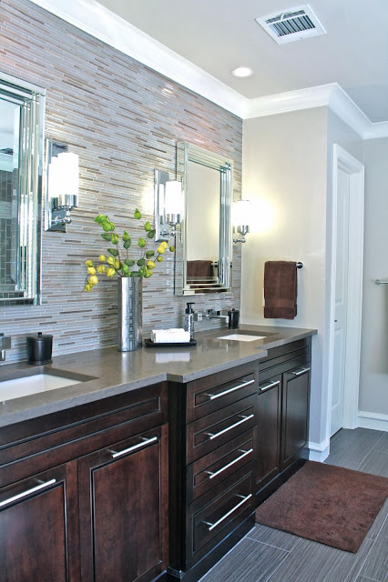 another angle of the bathroom vanity with attractive mosaic wall
