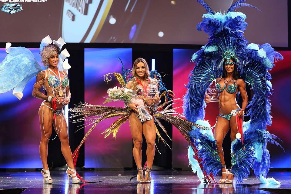 Rebecca Ferrari foi Campeã Diva Fitness em competição da WBFF. Foto: Fabrício Santana/ Thiago Freitas Assessoria
