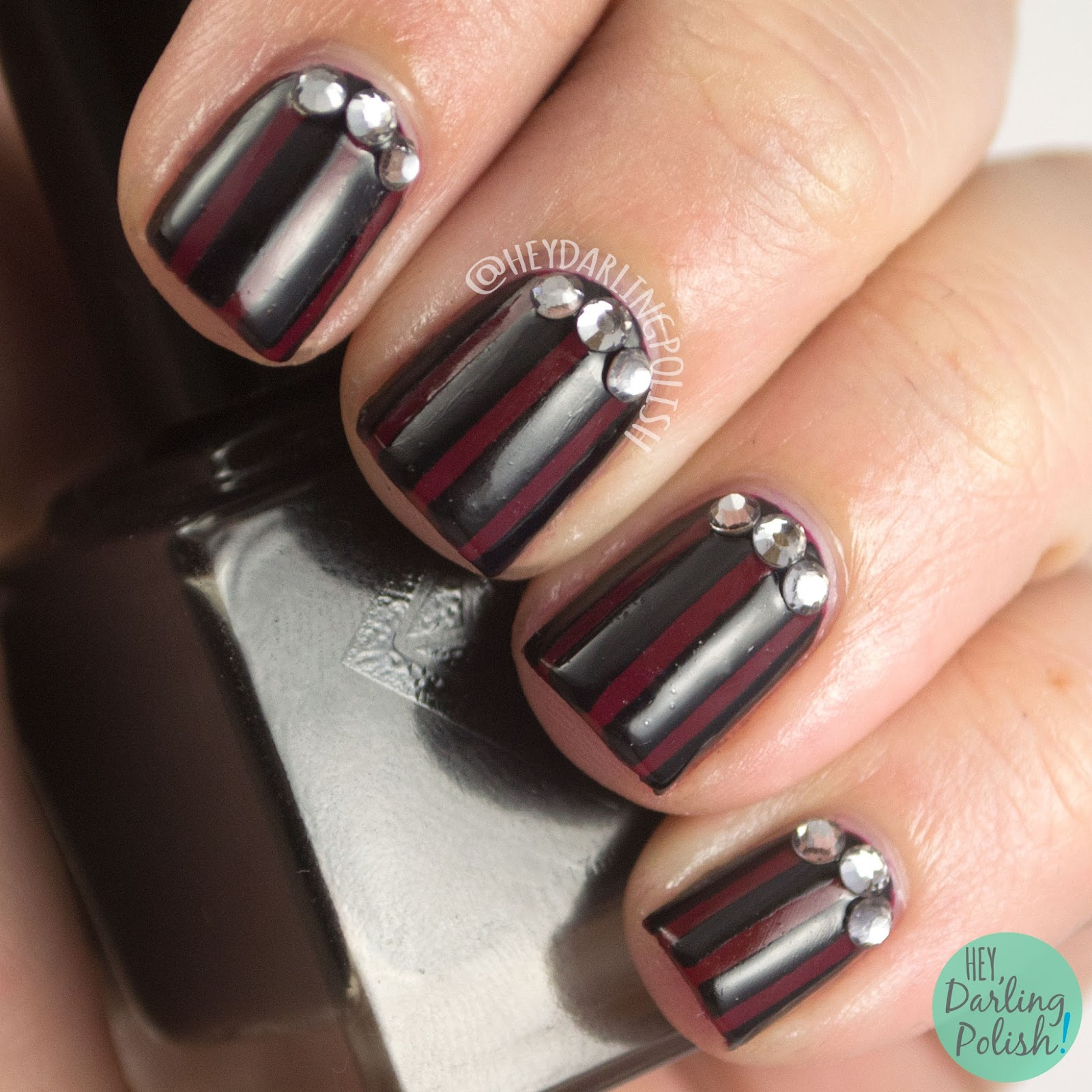 nails, nail art, nail polish, luxe lacquers, hey darling polish, red, black, stripes, rhinestones,