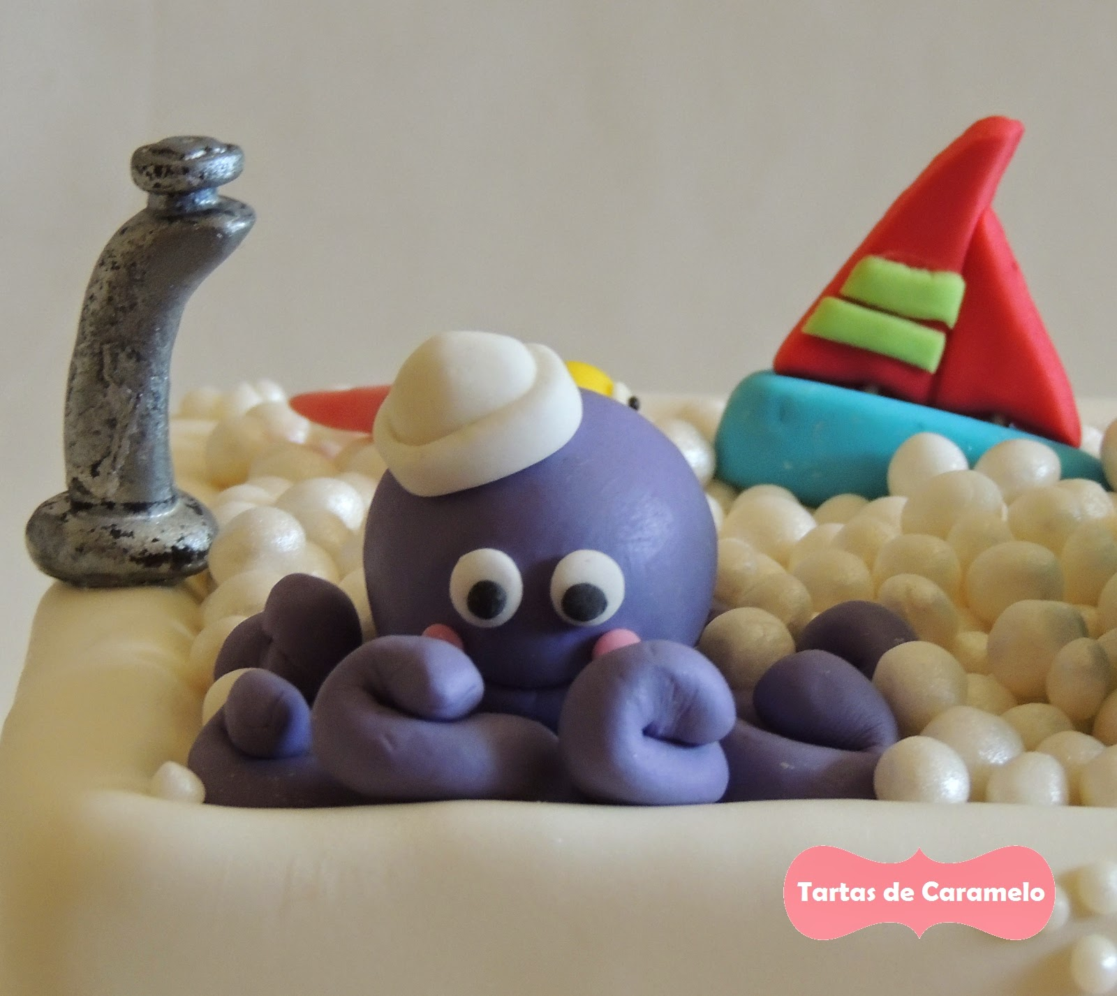 Tarta de cumpleaños: Al baño con mis muñecos! Pulpo