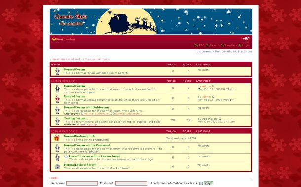 Free Red Blue Christmas Phpbb Theme Template