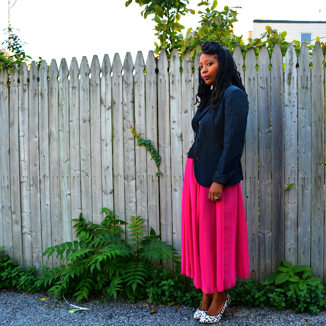 hot pink fuchsia skirt worn with black