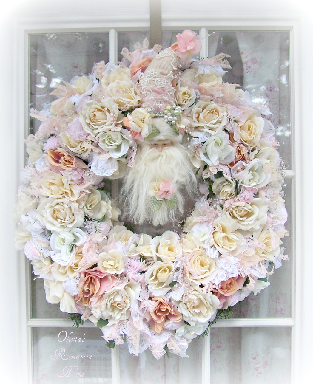 olivia 39 s romantic home shabby chic white christmas santa wreath. Black Bedroom Furniture Sets. Home Design Ideas