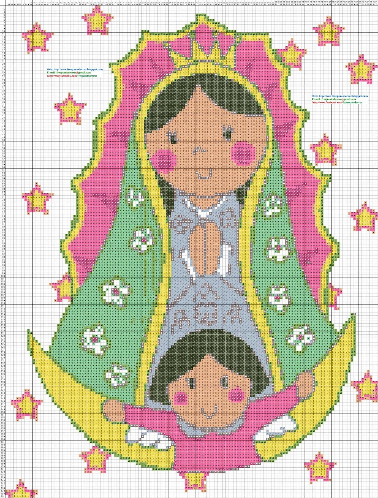 Virgen de Guadalupe Animada - Punto de cruz