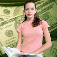 Female College Student with Textbook in Pink Shirt against Money Backdrop