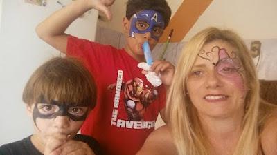 Pintura Facial. Batman, Capitão America e Borboleta