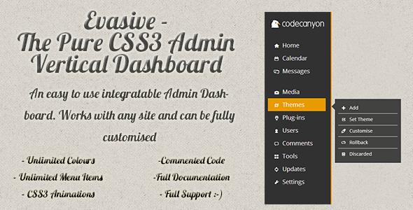 Evasive – Pure Flat CSS3 Admin Dashboard