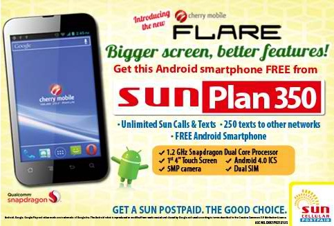 Cherry mobile flare android smartphone offered free on sun for Sun mobile plan
