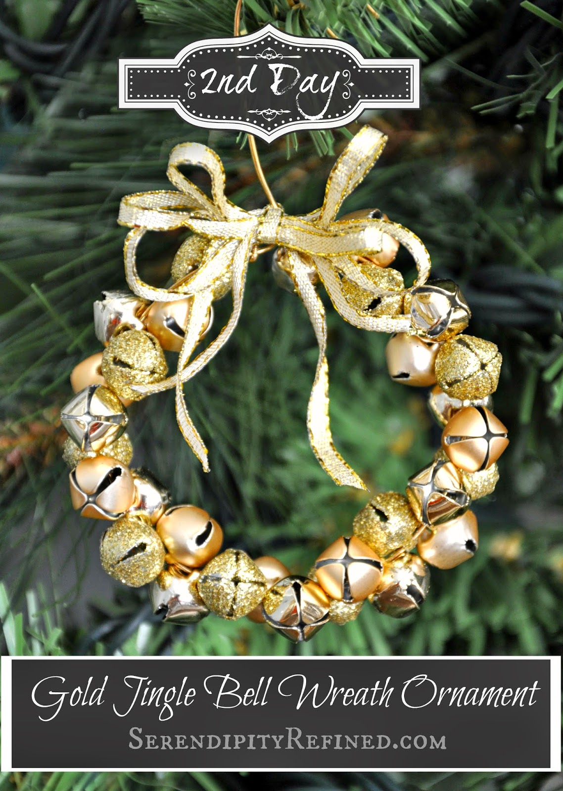 Making christmas decorations jingle bells - Easy Gold Jingle Bell Wreath Ornament Day 2 Pin It Today S Gold Jingle Bell Wreath Ornament