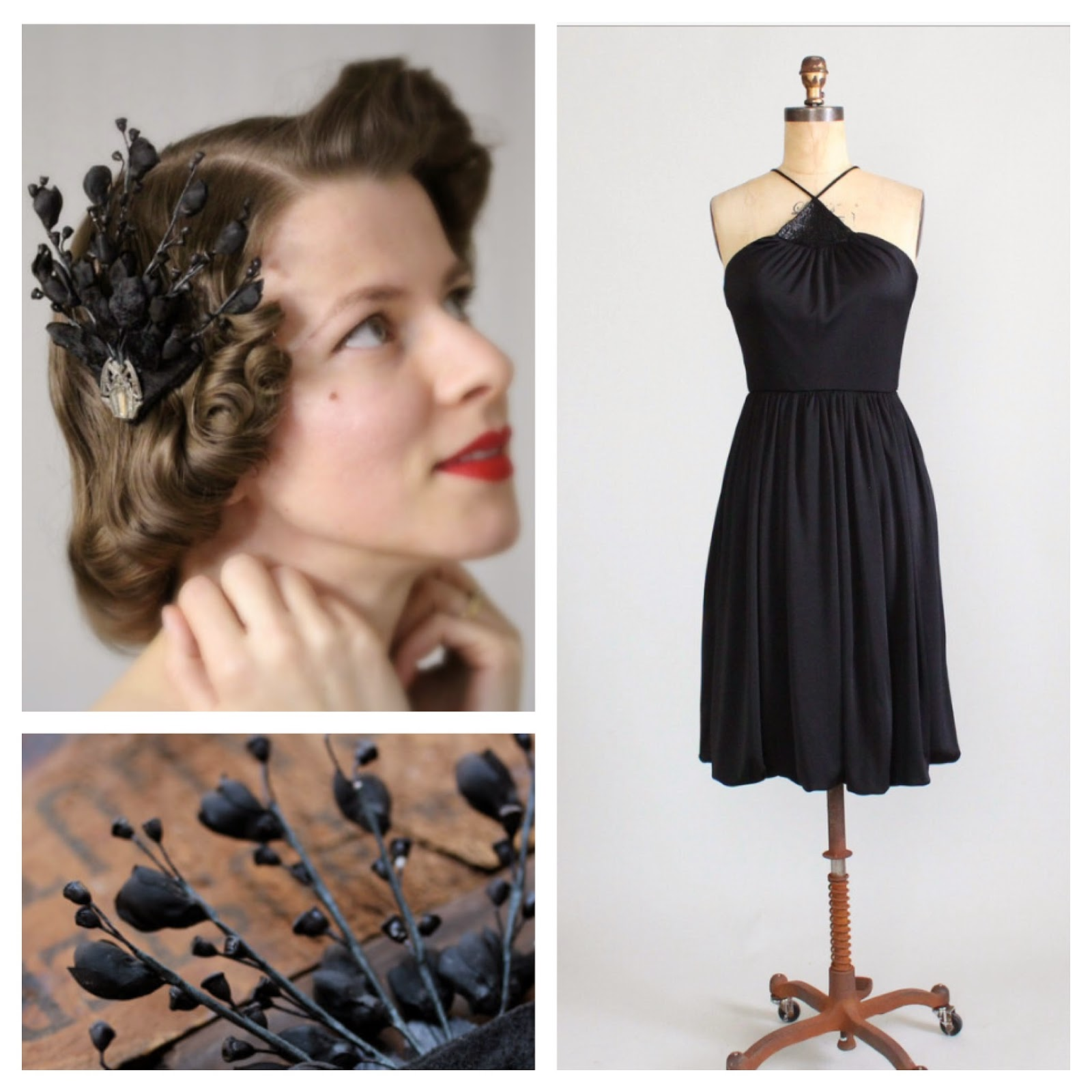 Vintage Evening Wear #vintage #black #dress #1970s #hair