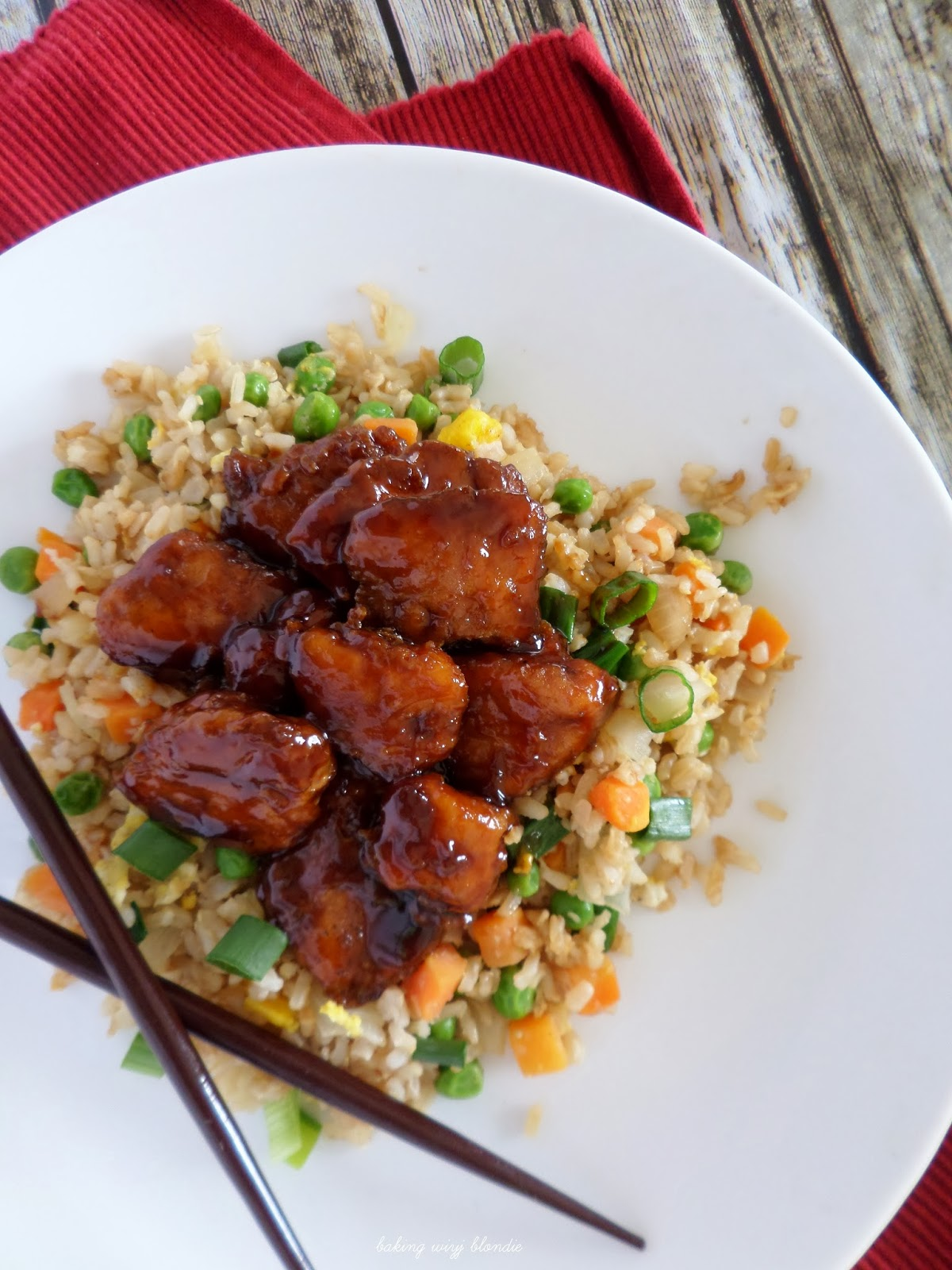 Honey Sesame Baked Chicken And Easy Fried Brown Rice