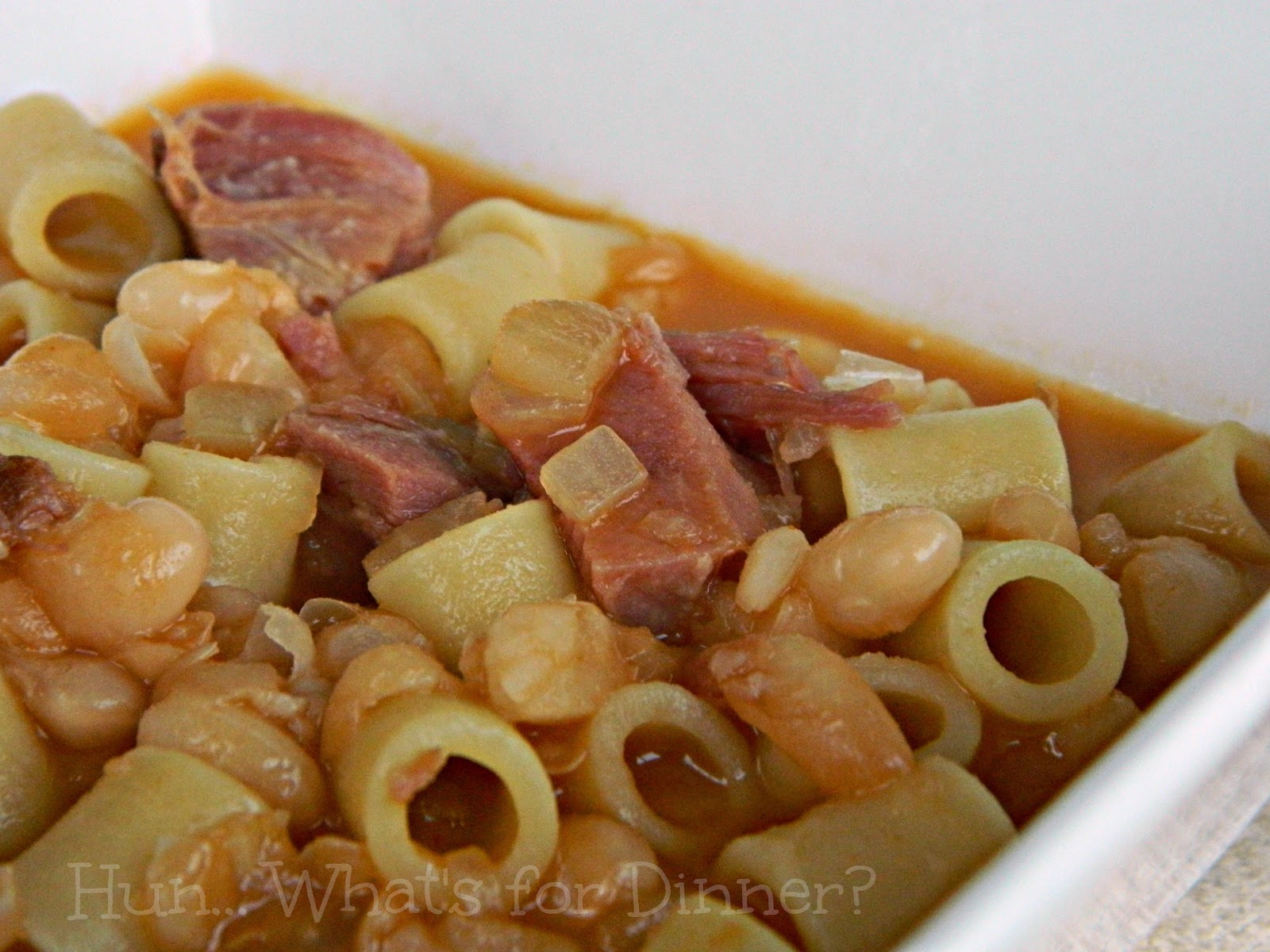 Hun... What's for Dinner?: Pasta Fagioli- A simple twist on a traditional Italian Ham and Bean soup.