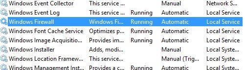 Windows firewall startup type
