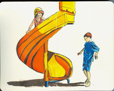 Laura and Alexander on the Slide - Pen and Ink with Watercolour by Ana Tirolese ©2012