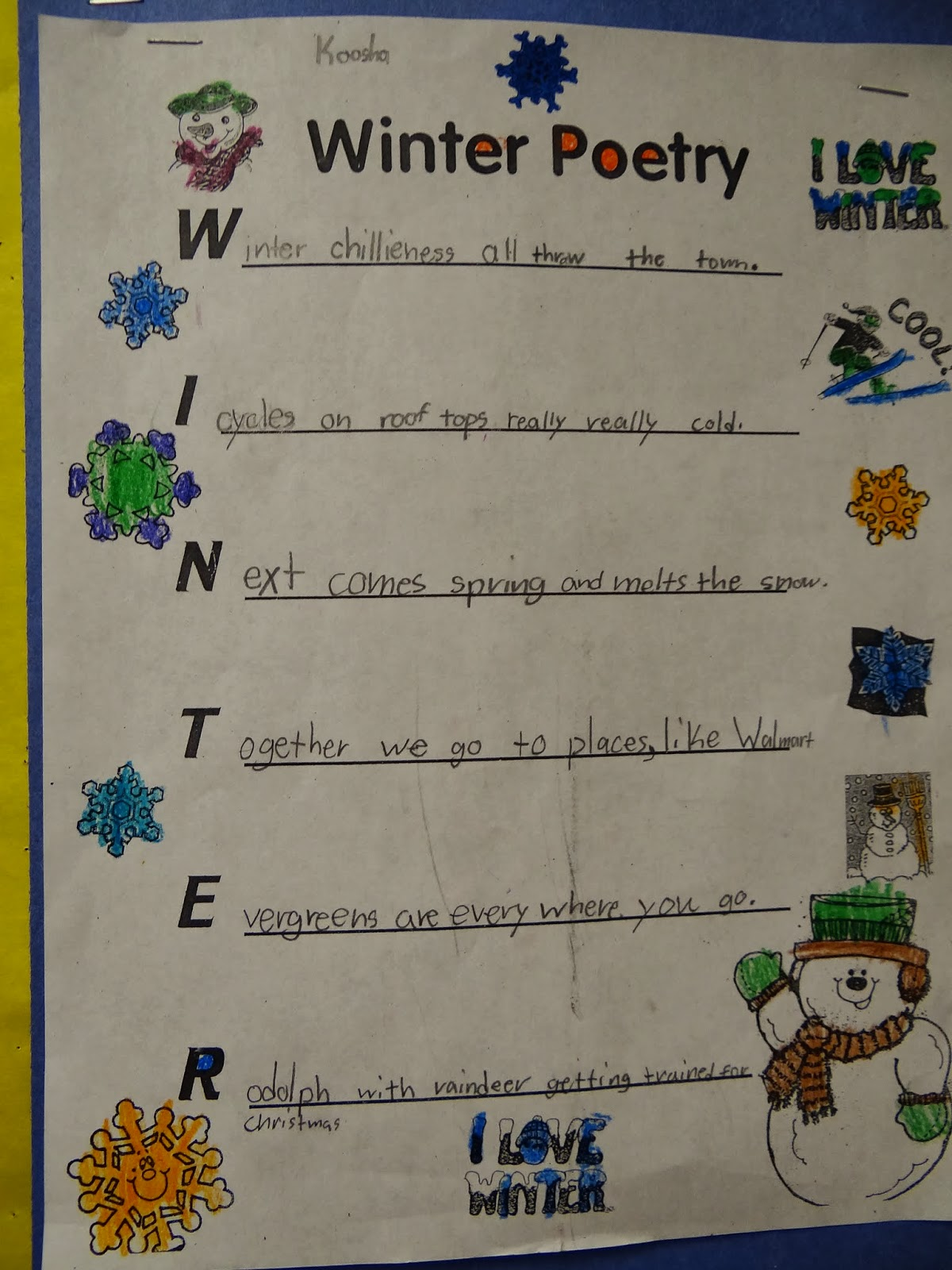 Winter acrostics with sentences that remind us of winter things