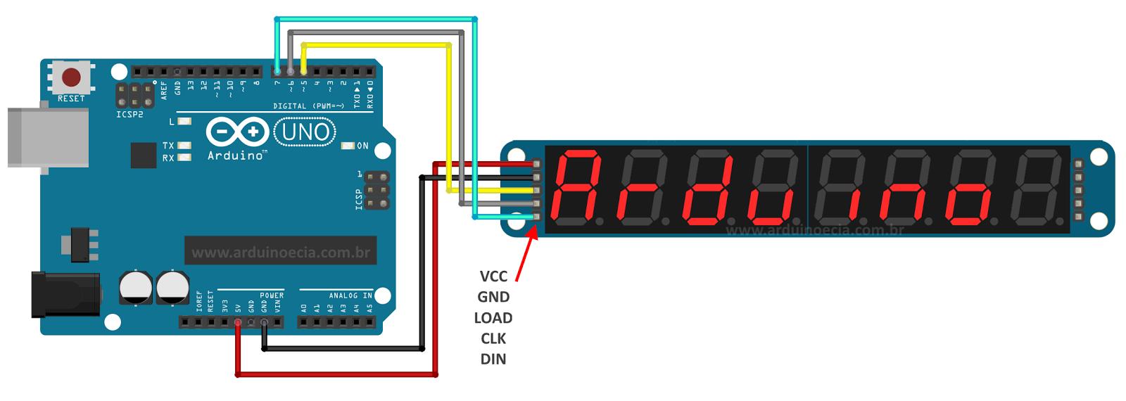Circuito Arduino Uno - Display 7 segmentos Max7219