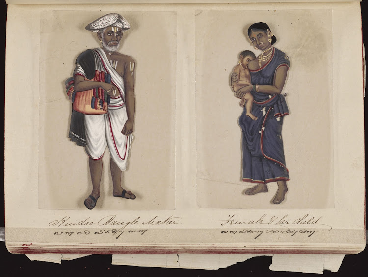 Hindoo bangle maker  Female & her child