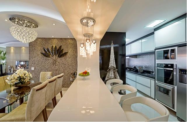 decoracao de cozinha integrada a sala de jantar:Olha que luxo essa cozinha integrada com a sala de jantar!