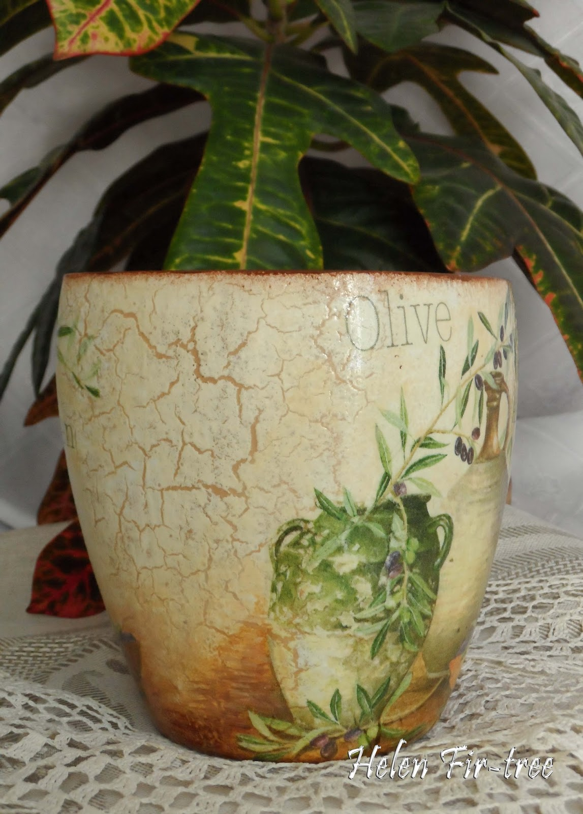 Helen Fir-tree декупаж цветочный горшок оливки decoupage flowerpot olives
