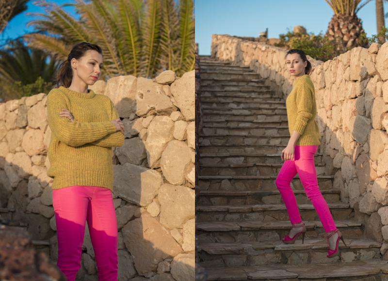 stylizacja z różowymi spodniami