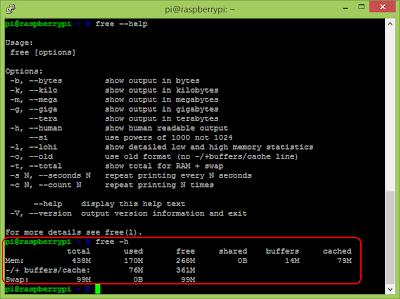 show memory usage
