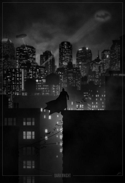 marko manev ilustração poster super heróis noir minimalista preto e branco batman cavaleiro das trevas