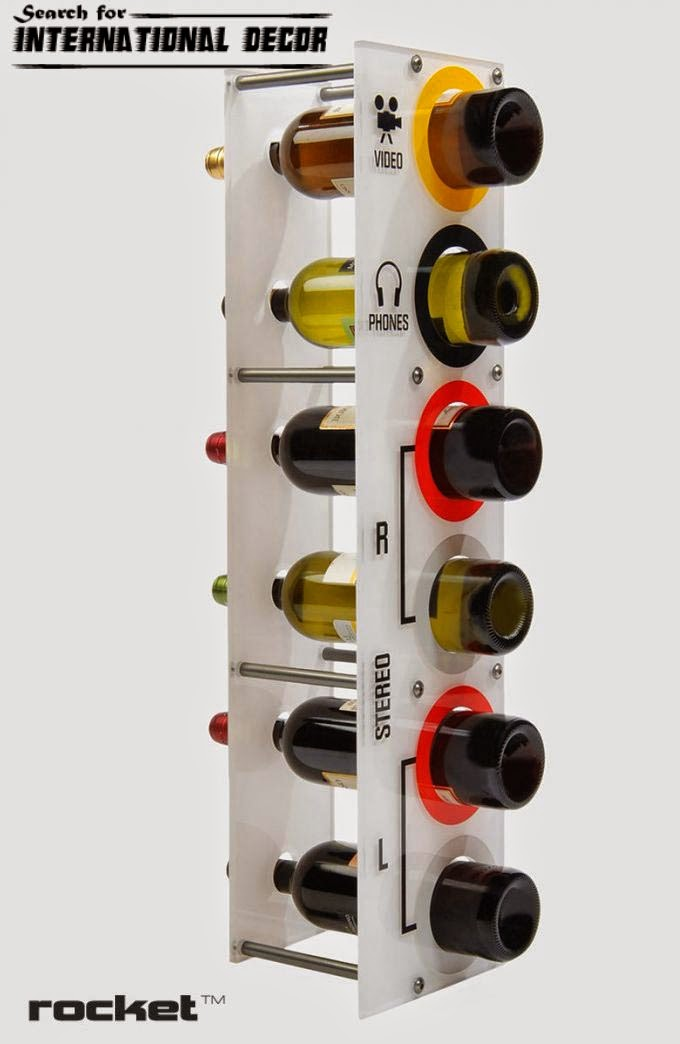 wine racks, creative interiors in rock style