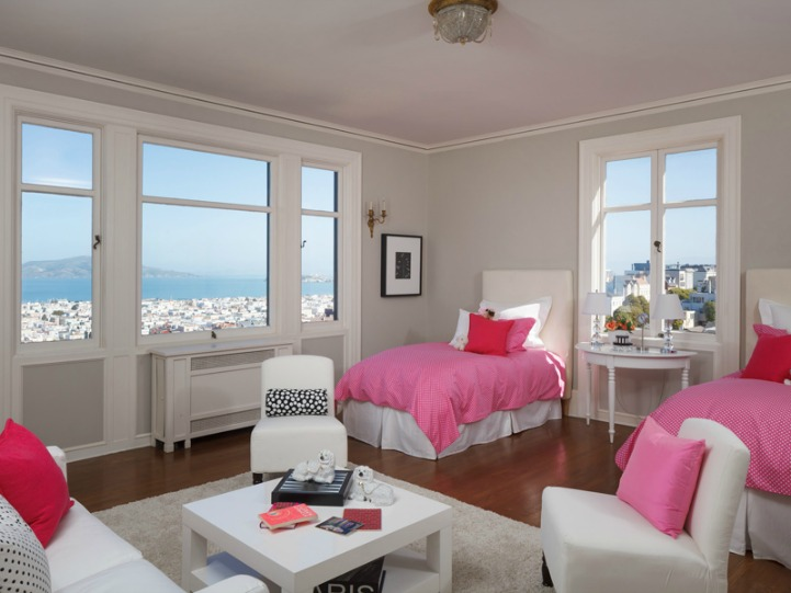 Coastal guest bedroom with ocean view