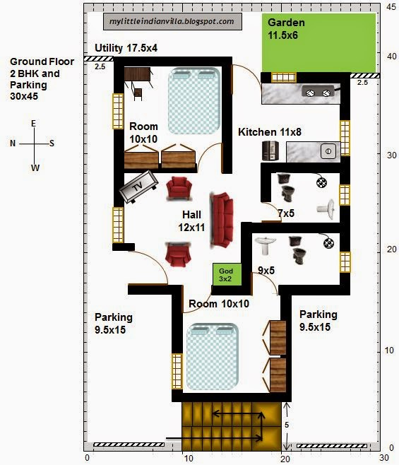 My little indian villa 22 r15 2bhk in 30x45 west facing 30 by 45 house plans