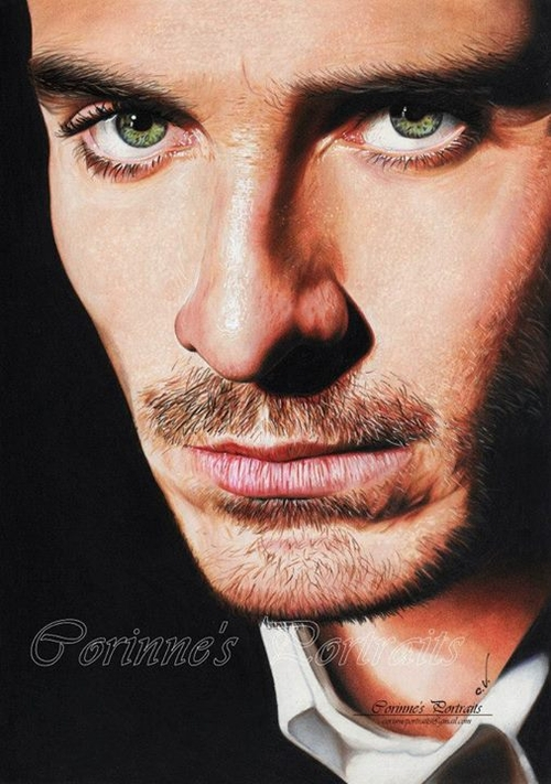 17-Michael-Fassbender-Corinne-Vuillemin-WIP-Color-Drawings-of-Actors-and-Animals-www-designstack-co
