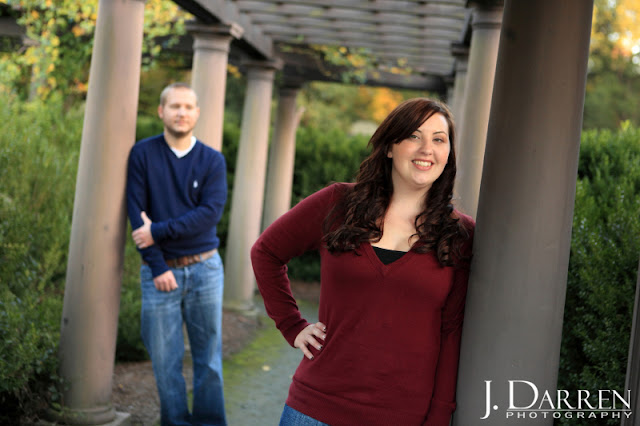 photo of engagement session fall reynolda gardens winston salem NC